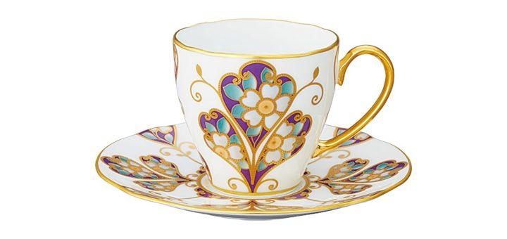 ノリタケ オマージュ コレクション コーヒー碗皿 雲母金彩花文