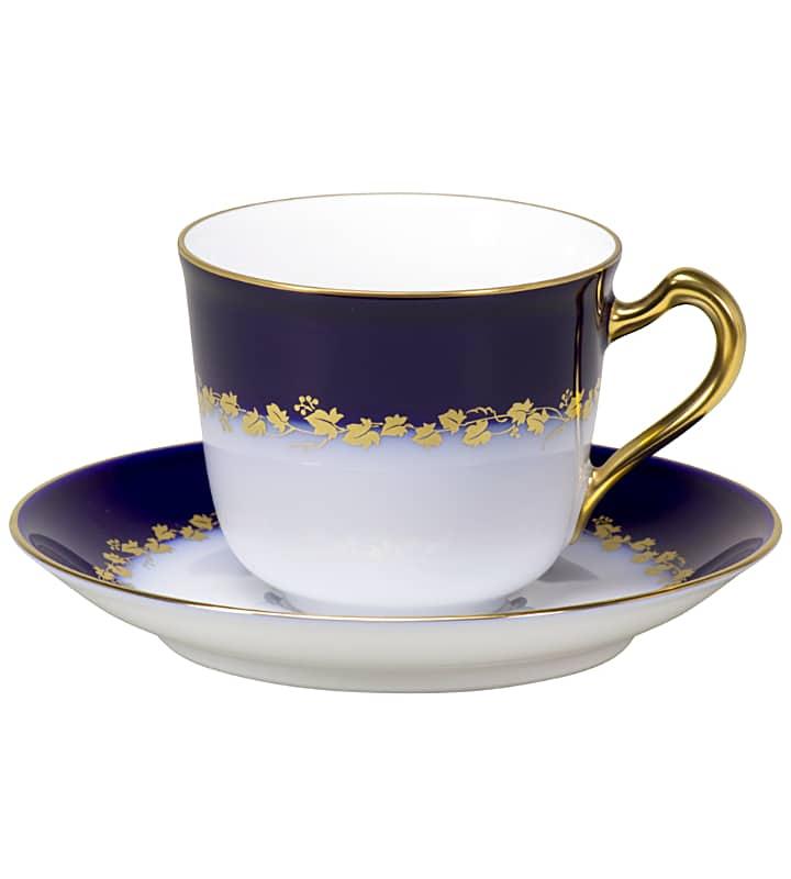 大倉陶園 コーヒーカップ&ソーサー 「瑠璃金彩蔦模様」