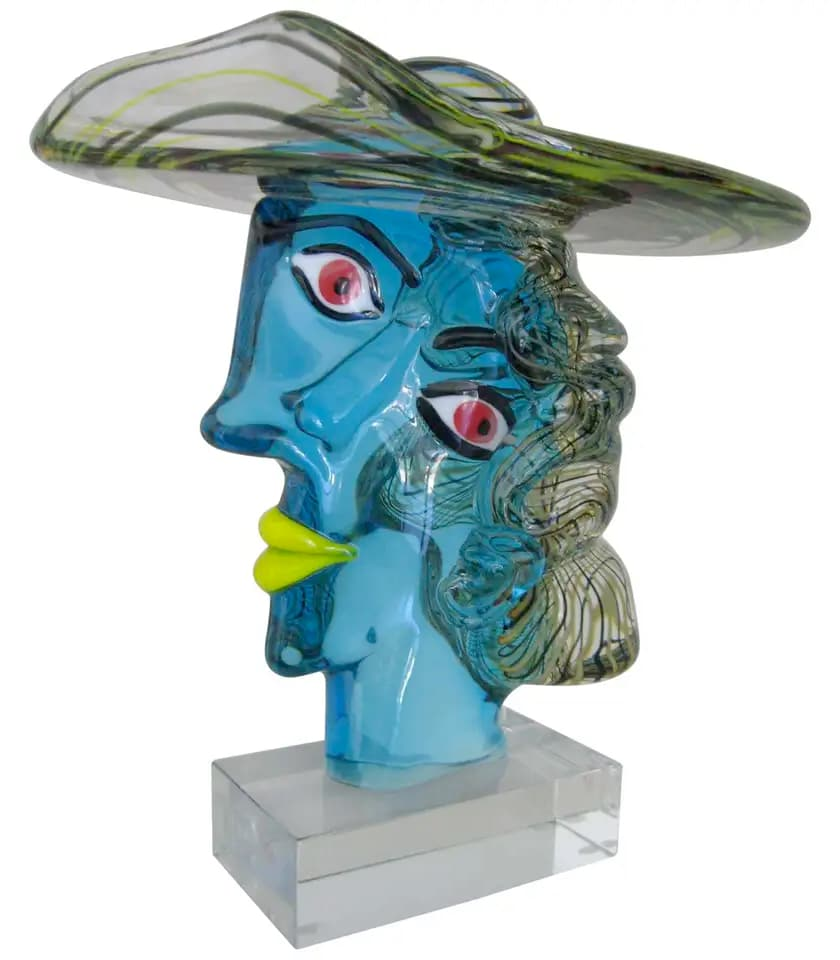 ヴェネチアガラス オブジェ 彫刻 ピカソ像 ( Venetian Glass Picasso Head Sculpture )