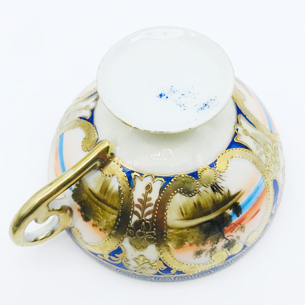 オールドニッポン ペディスタル カップ&ソーサー デザート皿 トリオ コバルト帯 金彩 海辺風景図