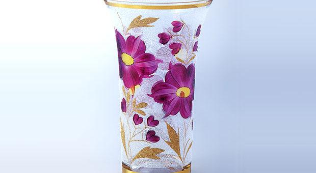 ボヘミアガラス カラーベース 花瓶
