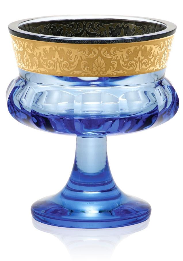 ボヘミアガラス モーゼル ボウル Mirth 5529/14 cm footed bowl cut + OP flowers aquamarine