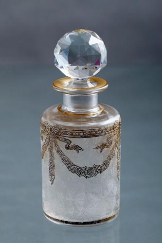 1870年頃 バカラ 腐食・エナメル金彩 クリスタルガラスの香水瓶 14.3cm