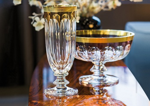 ボヘミアガラス モーゼル レディ・ハミルトン 花瓶とボウル 15000/V and 15000/N, hand cut vase and bowl