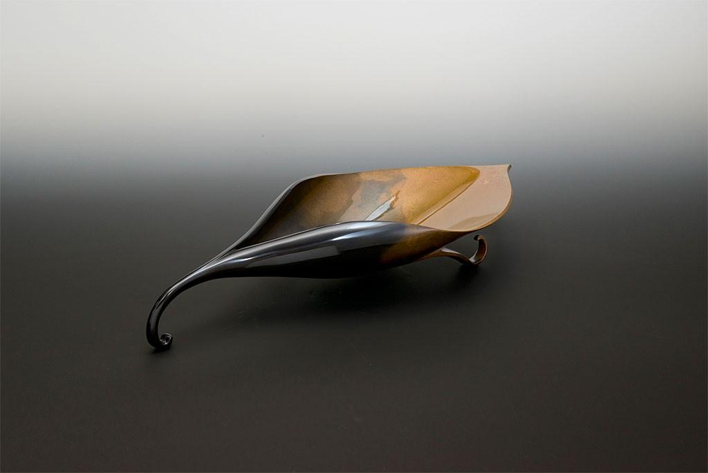 高岡銅器 般若保 盛皿 吹分葉型盤