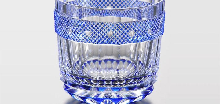江戸切子 瑠璃被魚子文 筒形盃