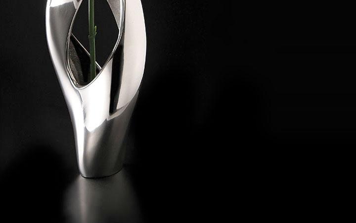 """ナンベ 一輪挿し Pebble Twist ( Nambe Metal Pebble Twist 8"""" Bud Vase )"""