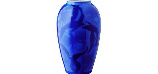 有田焼 香蘭社 花瓶 染カトレア