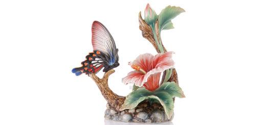 フランツコレクション バタフライ ハイビスカス 花瓶 ( Franz Porcelain Collection Butterfly Hibiscus Vase )