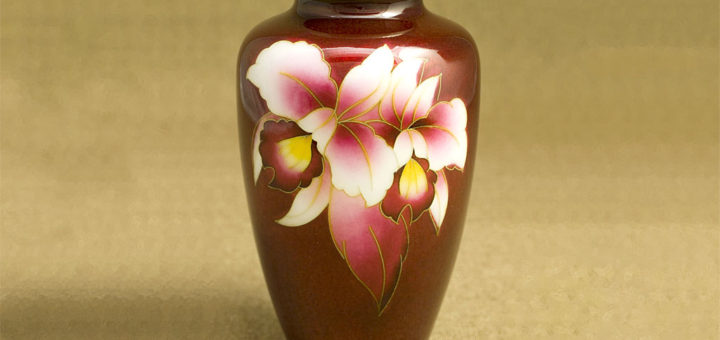 七宝焼 花瓶 6寸並形赤透け カトレア