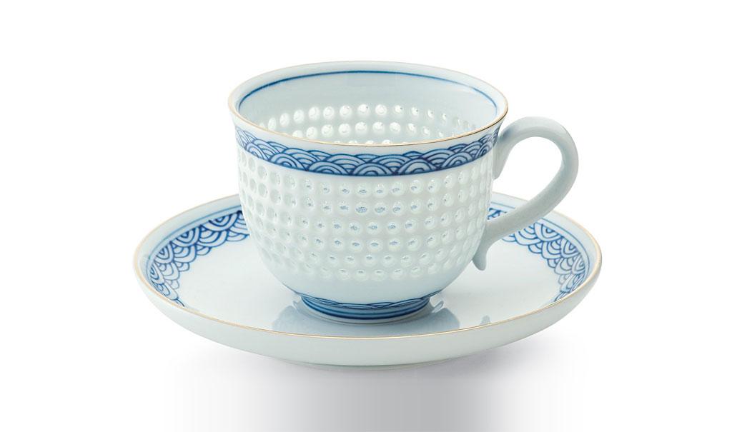 有田焼 賞美堂 其泉窯 水晶青海波 コーヒー碗皿