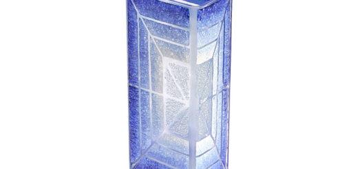 ボヘミアガラス 花瓶 ブルー ホワイト スクエア ( Bohemian Glass Vase Blue White Square )