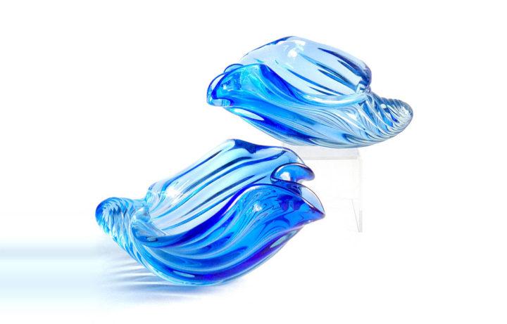 ヴェネチアガラス アルフレッド・バルビーニ 貝殻のボウル ( Venetian Glass Alfredo Barbini Cobalt Blue Seashell Sculptures Bowls )