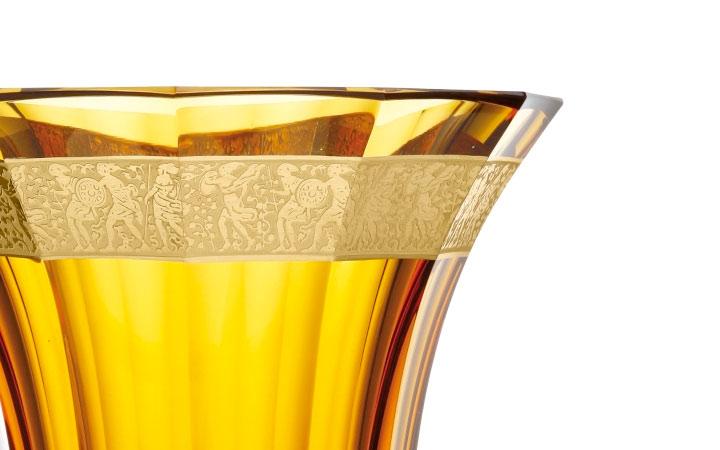ボヘミアガラス モーゼル 花瓶 グロリア 628 トパーズ ( Bohemian Glass Moser Gloria 628, Hand Cut and Gilded Vase, Topaz )
