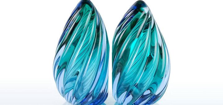 ヴェネチアガラス アルフレッド・バルビーニ ブックエンド ブルー ( Venetian Glass Alfredo Barbini Blue Sommerso Twisted Flame Bookends )