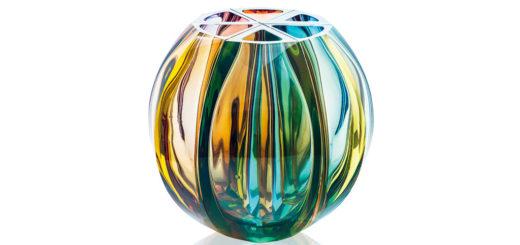 ボヘミアガラス モーゼル 花瓶 ボール ( Bohemian Glass Moser Ball Hand Cut Vase )