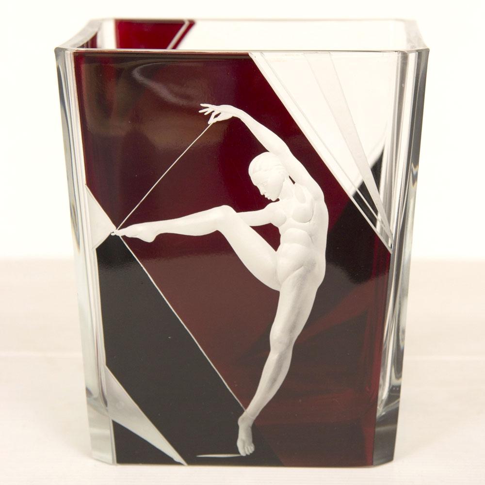ボヘミアガラス カール・パルダ アールデコ 花瓶 踊る女性 ( Bohemian Glass Karl Palda Art Deco Vase Dancing Woman )