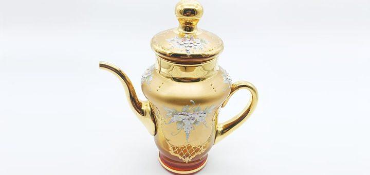 ヴェネチアガラス 金彩 24K ポット アンバー 琥珀 ( Venetian Glass Gold Gilded 24K Pot Amber )