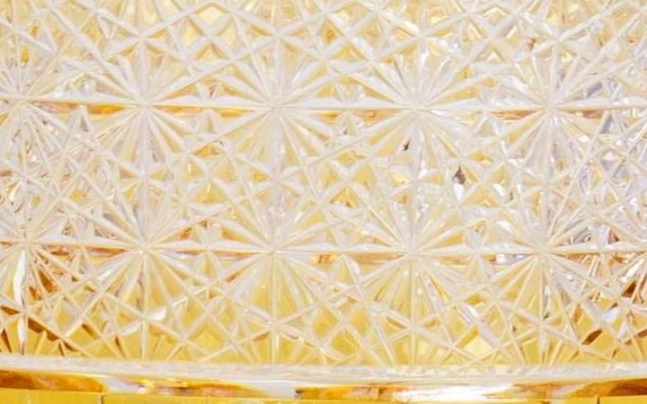 江戸切子 ロックグラス 桜吹雪 アンバー 根本硝子