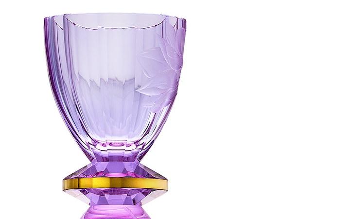 ボヘミアガラス モーゼル 花瓶 マグノリア ( Bohemian Glass Moser Magnolia Hand Cut And Engraved Vase )