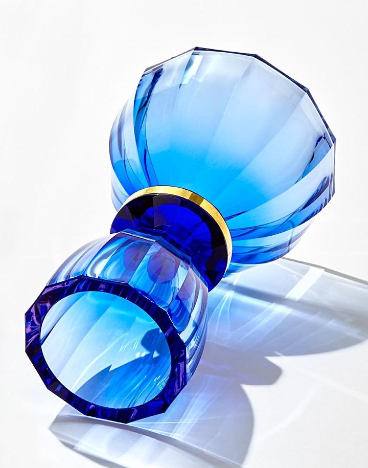 ボヘミアガラス モーゼル 花瓶 リトル・ヴェルサイユ ( Bohemian Glass Moser Little Versailles Hand Cut Underlaid Vase )