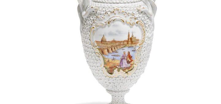 マイセン スノーボール装飾花瓶「ドレスデン―カナレットの光景」 ( MEISSEN® Snowball Blossom Vase With Canaletto View Of Dresden )
