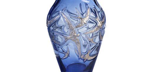 ラリック 花瓶 イロンデール サファイア・ブルー ( Lalique Hirondelles Grand Vase Sapphire blue, Platinum stamped )