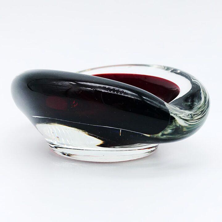 ヴェネチアガラス トレイ SOMMERSO ソンメルソ クリア・レッド ( Venetian Glass Tray Sommerso Clear Red )