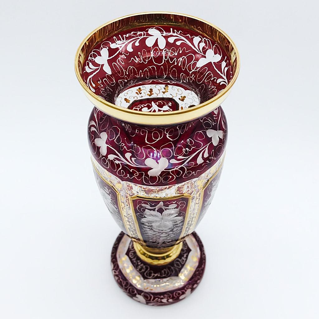 ボヘミアガラス エーゲルマン リッチエングレーヴィング 花瓶 レッド 金彩 葡萄文 ( Bohemian Glass Egermann RichEngraving Vase )