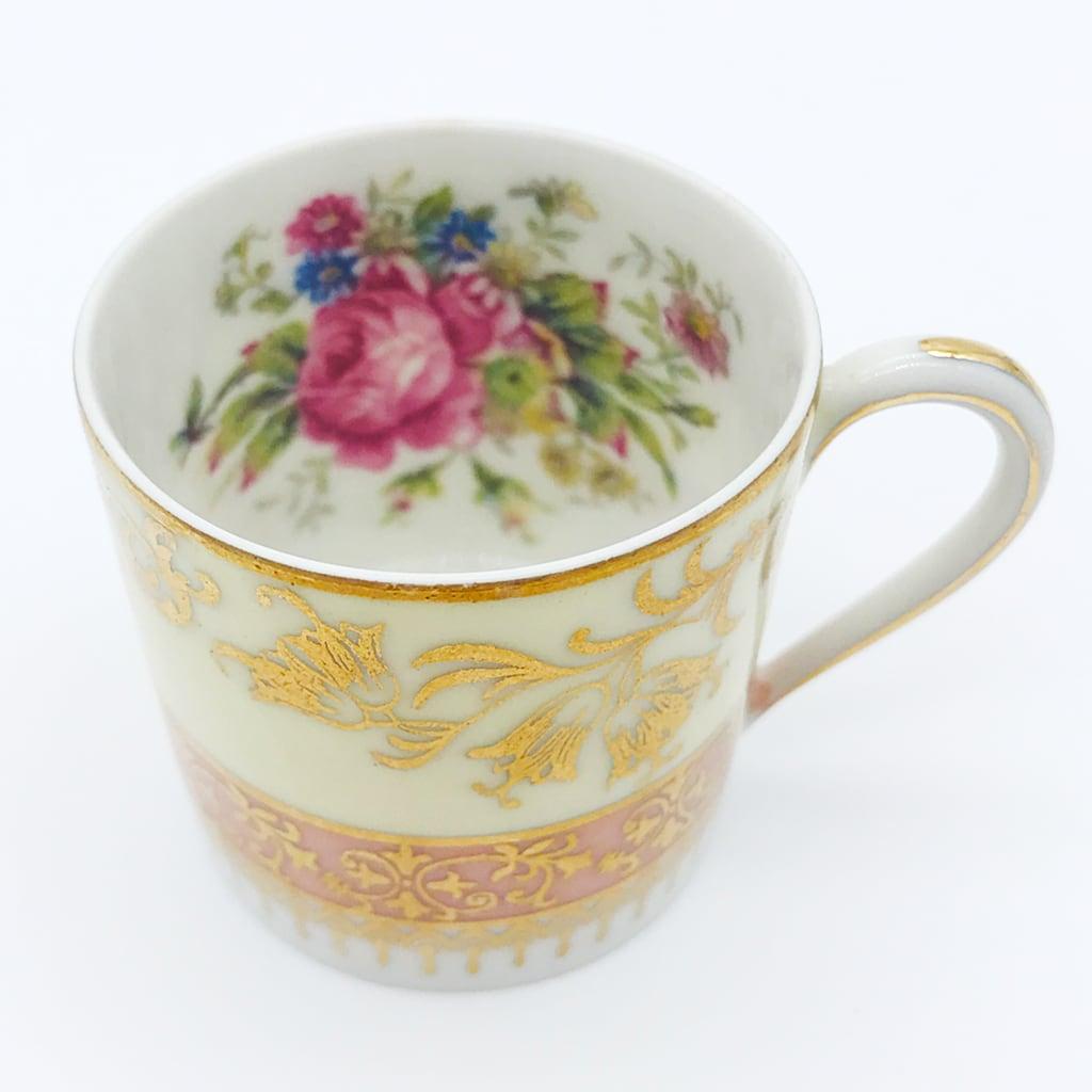 リモージュ カップ&ソーサー 薄緑 桃花色 花柄 金彩 ( Limoges Cup And Saucer Flower Rose Gold Light Green )