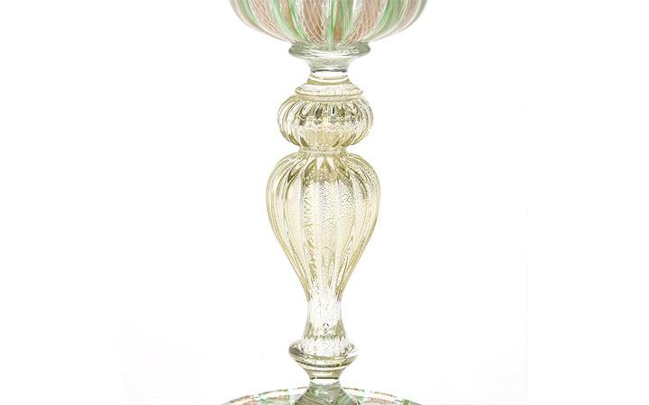ヴェネチアガラス バラリン ワイングラス ゴールド×グリーンレース ( Venetian Glass Ballarin Wine Glass Gold Green Lace )