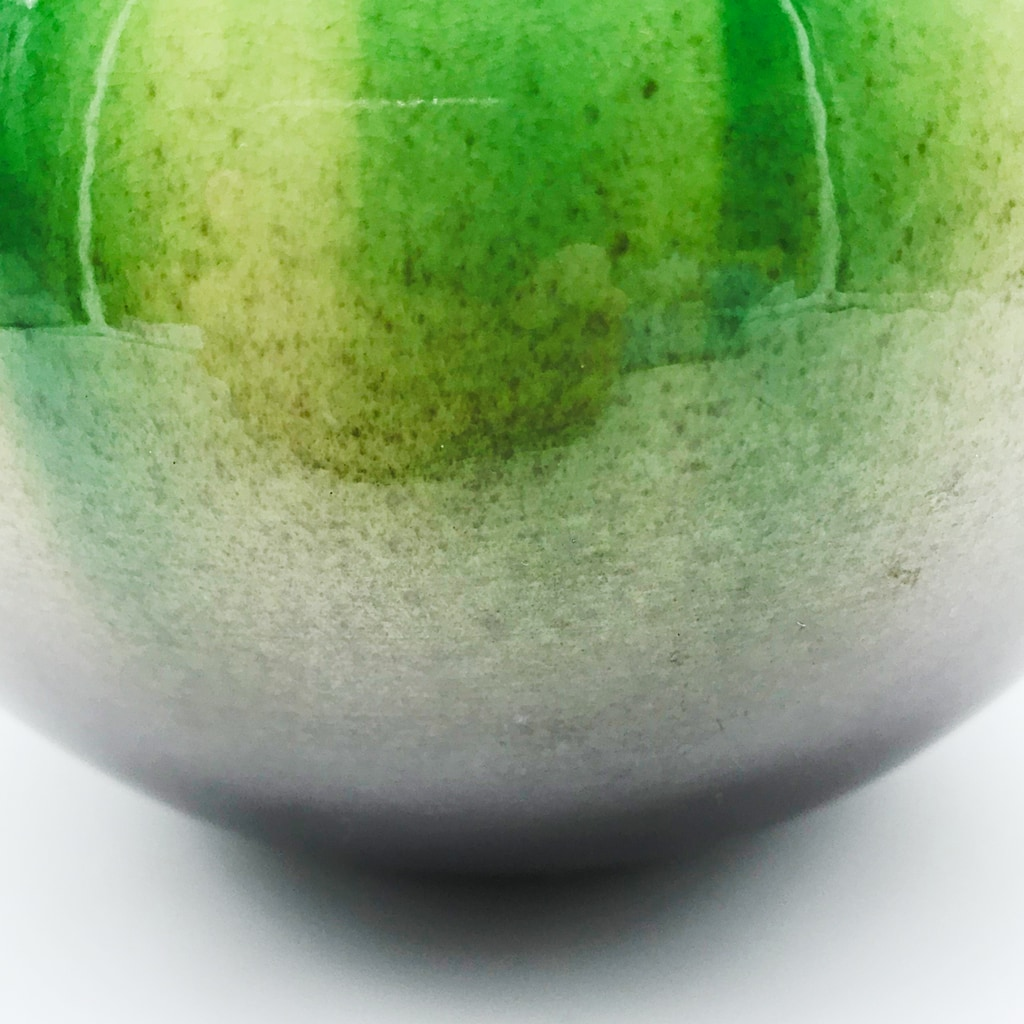 九谷焼 光陽窯 山田登陽志 花瓶 緑茶釉彩