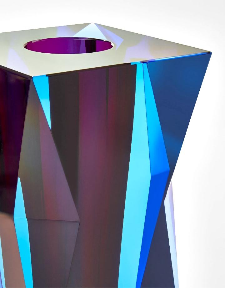 ボヘミアガラス モーゼル 花瓶 ファセット ( Bohemian Glass Moser Facet Vase )
