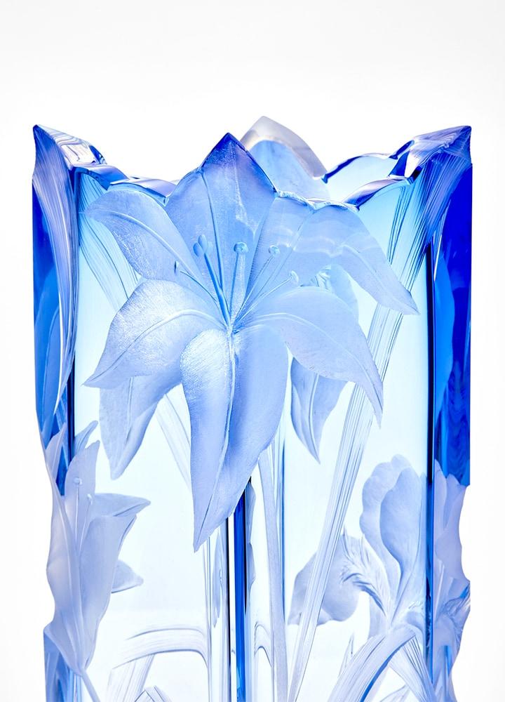 ボヘミアガラス モーゼル 花瓶 アイリス ( Bohemian Glass Moser Irises Vase )