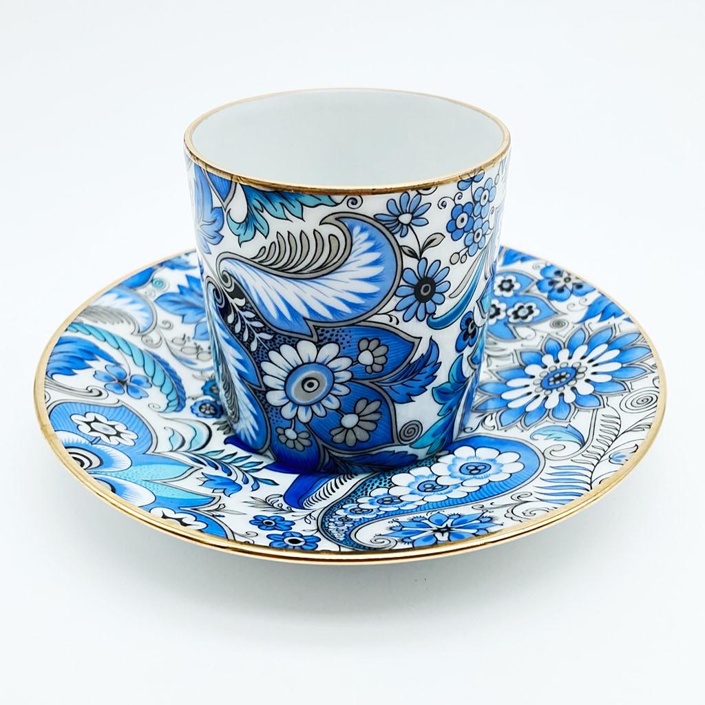 リモージュ デミタス カップ&ソーサー ブルー アラベスク模様 金彩 ( Limoges Demitasse Cup & Saucer Blue Arabesque Gold Guilded )